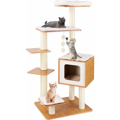 FEMOR Arbre à Chat en bois, Griffoir Chats 100 % Sisal, avec Niche pour chats, 4 Plateformes, Tapis Amovibles et Lavables, 138 cm