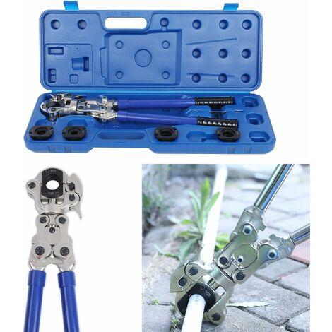 FEMOR Crimpzange Set Presszange V-Kontur Rohrpresszange 15-18-22-28 mm, 360° schwenkbaren Kopf, für Kupferrohr, C-Stahlrohr und Edelstahlrohre verwendbar