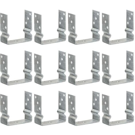 Fence Anchors 12 pcs Silver 14x6x15 cm Galvanised Steel