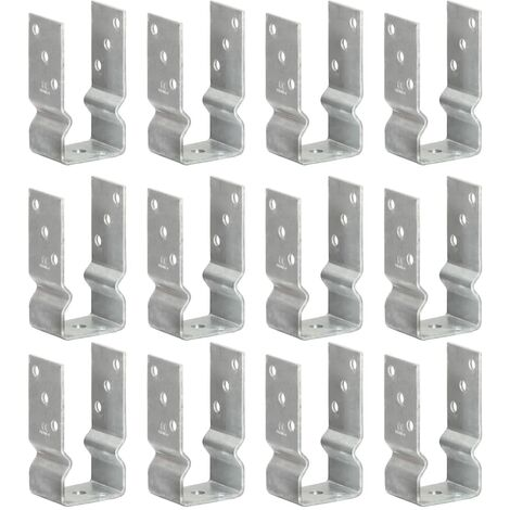 Fence Anchors 12 pcs Silver 7x6x15 cm Galvanised Steel