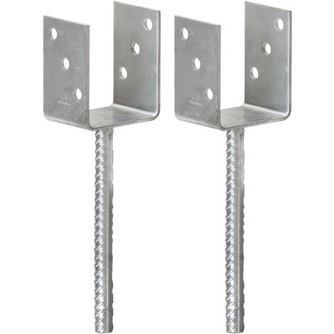 Fence Anchors 2 pcs Silver 8x6x30 cm Galvanised Steel