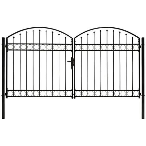 Fence Gate Double Door with Arched Top Steel 300x175 cm Black