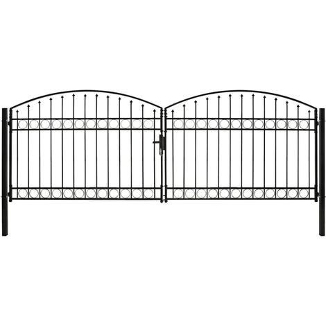 Fence Gate Double Door with Arched Top Steel 400x125 cm Black