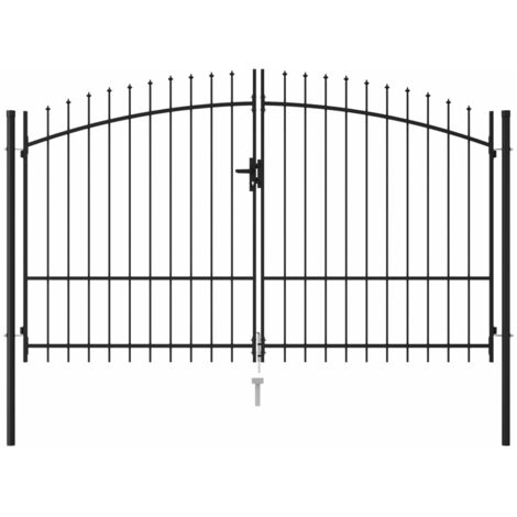 Fence Gate Double Door with Spike Top Steel 3x2 m Black