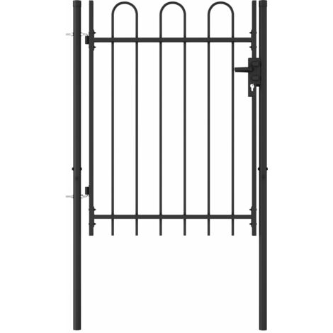Fence Gate Single Door with Arched Top Steel 1x1.2 m Black