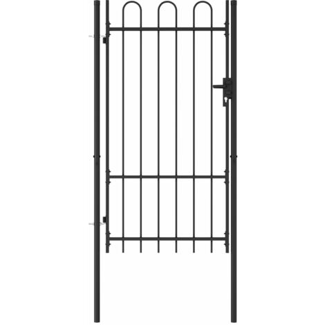 Fence Gate Single Door with Arched Top Steel 1x1.75 m Black