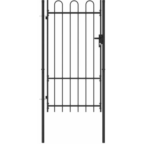 Fence Gate Single Door with Arched Top Steel 1x1.75 m Black - Black