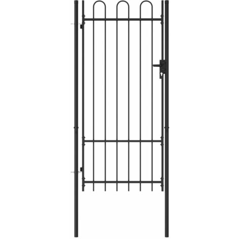 Fence Gate Single Door with Arched Top Steel 1x2 m Black - Black