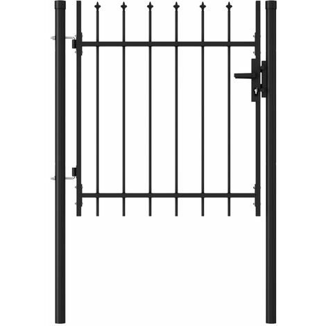 Fence Gate Single Door with Spike Top Steel 1x1 m Black - Black