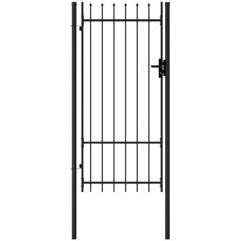 Fence Gate Single Door with Spike Top Steel 1x2 m Black - Black