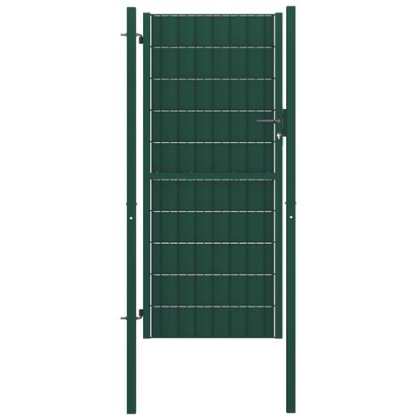 Fence Gate Steel 100x124 cm Green
