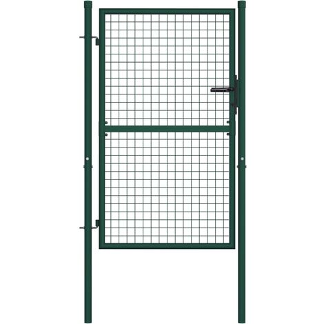 Fence Gate Steel 100x125 cm Green