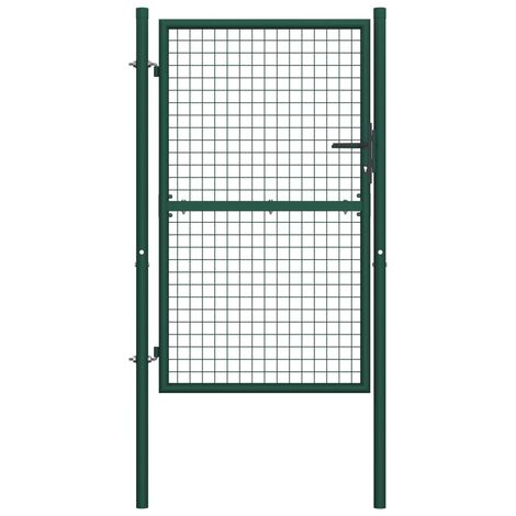 Fence Gate Steel 100x200 cm Green