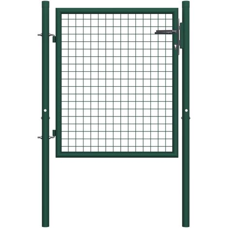 Fence Gate Steel 100x75 cm Green
