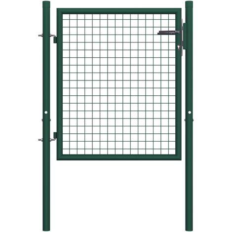 Fence Gate Steel 100x75 cm Green