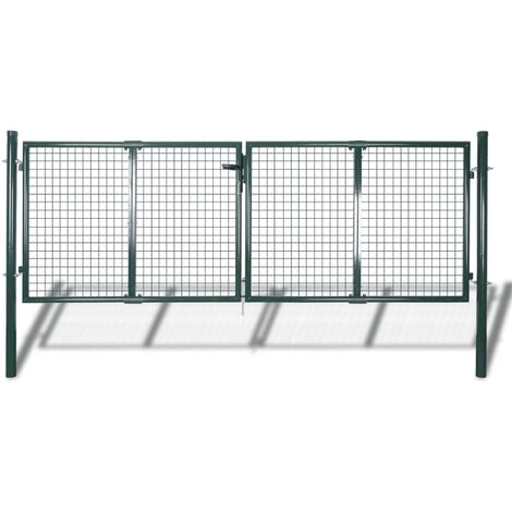 Fence Gate Steel 306x150 cm Green