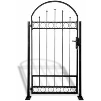 Fence Gate with Arched Top and 2 Posts 100x200 cm