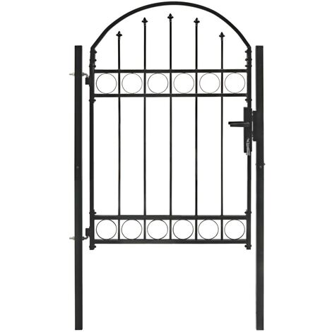 Fence Gate with Arched Top Steel 100x125 cm Black