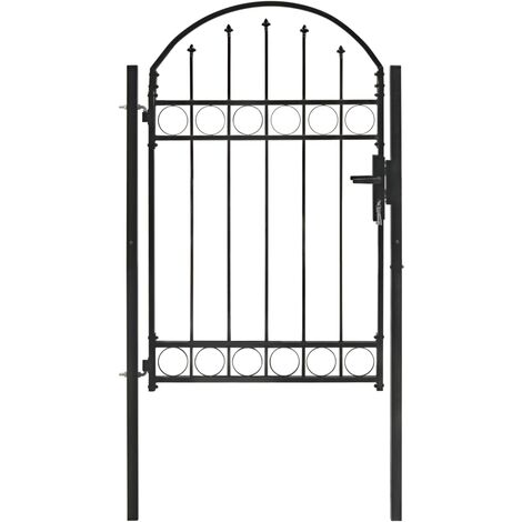 """main image of """"Fence Gate with Arched Top Steel 100x150 cm Black - Black"""""""