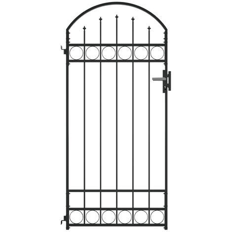 Fence Gate with Arched Top Steel 100x200 cm Black