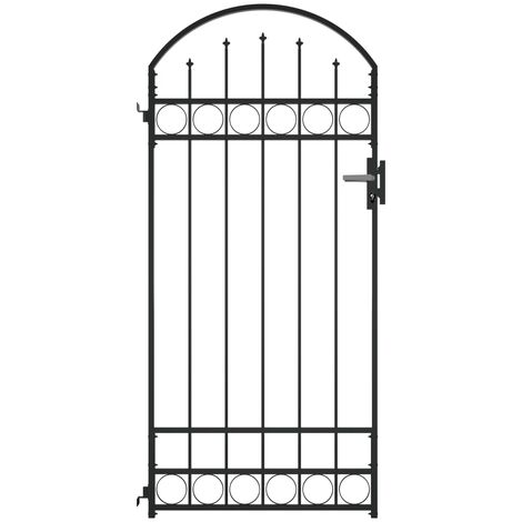 Fence Gate with Arched Top Steel 89x200 cm Black - Black