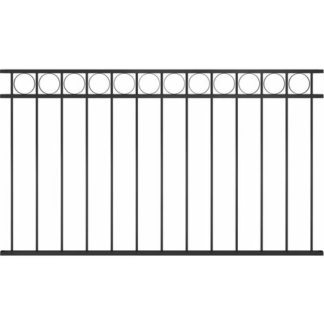 Fence Panel Steel 1.7x0.8 m Black