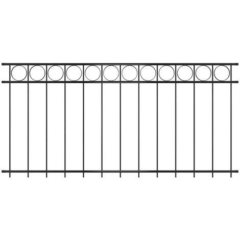 Fence Panel Steel 1.96x1 m Black