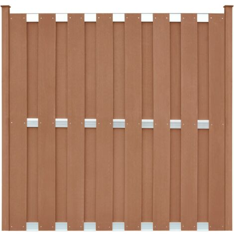 Fence Panel with 2 Posts WPC 180x180 cm Brown