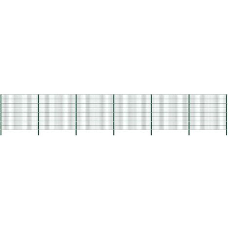 Fence Panel with Posts Iron 10.2x1.6 m Green