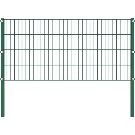 Fence Panel with Posts Iron 1.7x0.8 m Green