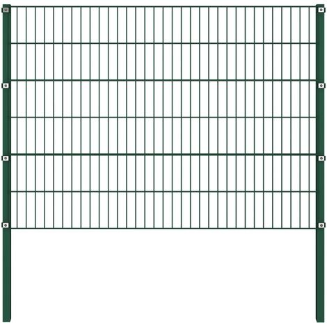 Fence Panel with Posts Iron 1.7x1.2 m Green