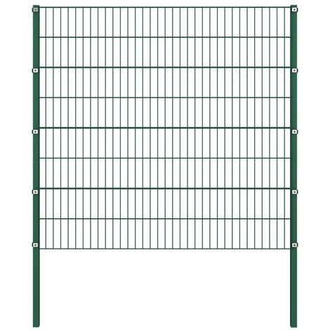 Fence Panel with Posts Iron 1.7x1.6 m Green