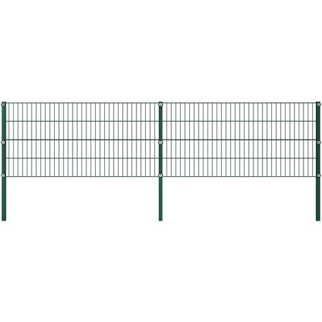 Fence Panel with Posts Iron 3.4x0.8 m Green