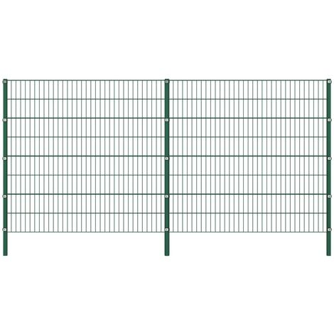 Fence Panel with Posts Iron 3.4x1.6 m Green