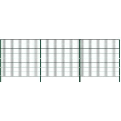 Fence Panel with Posts Iron 5.1x1.6 m Green