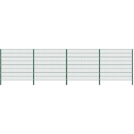 Fence Panel with Posts Iron 6.8x1.6 m Green