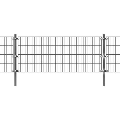 Fence Panel with Posts Powder-coated Iron 6x0.8 m Anthracite