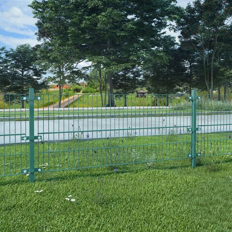 Fence Panel with Posts Powder-coated Iron 6x0.8 m Green