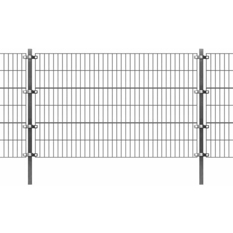 Fence Panel with Posts Powder-coated Iron 6x1.2 m Anthracite