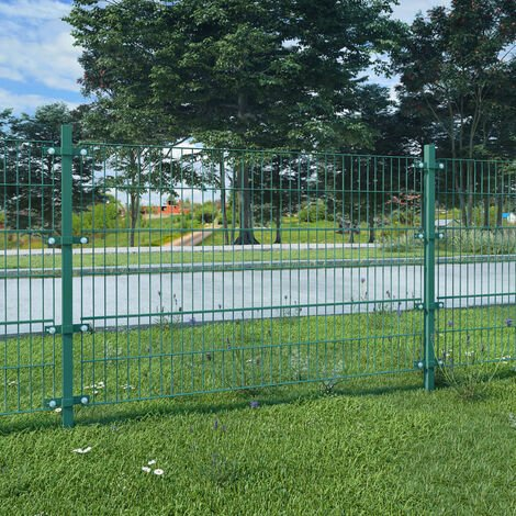 Fence Panel with Posts Powder-coated Iron 6x1.2 m Green
