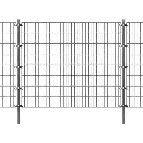 Fence Panel with Posts Powder-coated Iron 6x1.6 m Anthracite