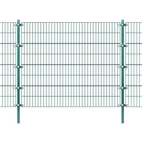 Fence Panel with Posts Powder-coated Iron 6x1.6 m Green