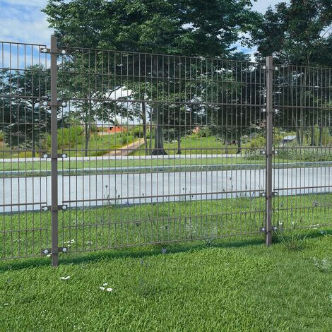 Fence Panel with Posts Powder-coated Iron 6x2 m Anthracite