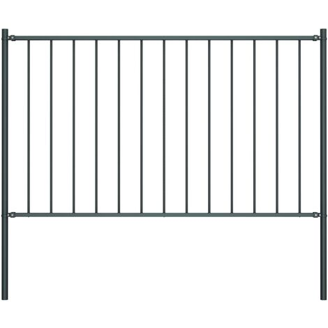 Fence Panel with Posts Powder-coated Steel 1.7x0.75 m Anthracite