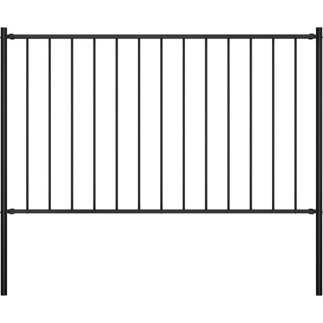 Fence Panel with Posts Powder-coated Steel 1.7x0.75 m Black