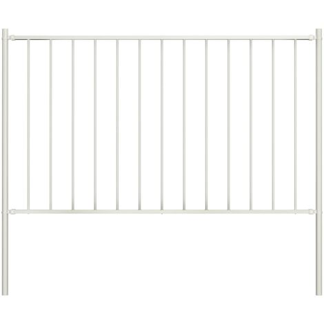 Fence Panel with Posts Powder-coated Steel 1.7x0.75 m White