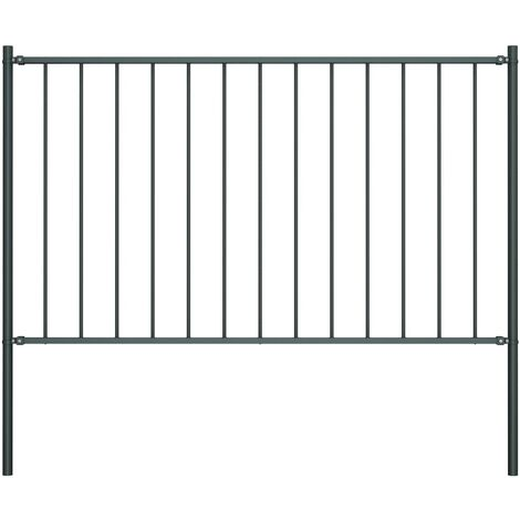 Fence Panel with Posts Powder-coated Steel 1.7x1 m Anthracite