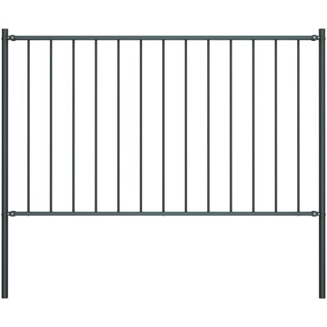 Fence Panel with Posts Powder-coated Steel 1.7x1.25 m Anthracite