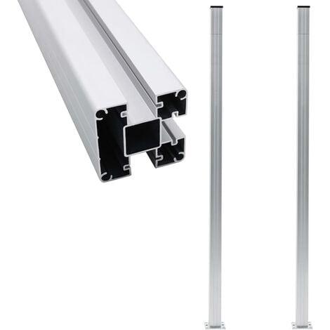 Fence Posts 2 pcs Aluminium 185 cm - Silver