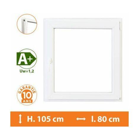 Fenêtre 1 Vantail Blanc - Tirant Droit - H.105 x l.80 cm - Blanc